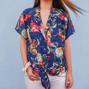 Anthropologie Maeve Floral Tie Front Blouse